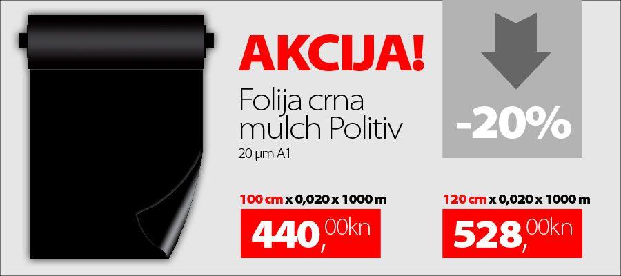 Akcija Folija za mulchiranje crna 20 μm A1 1000m